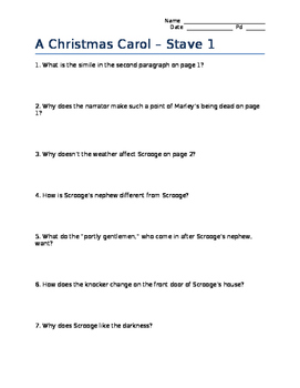 Christmas Carol - Stave Questions