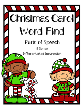 Christmas Carol Word Find - Parts of Speech