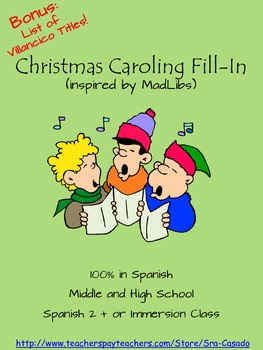 Spanish Christmas Caroling Fill-in Inspired by MadLibs #fe