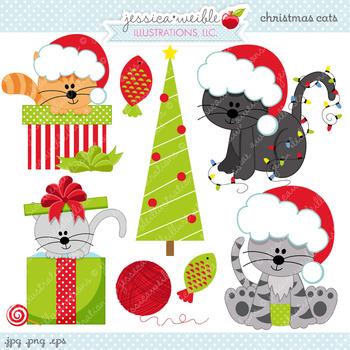 Christmas Cats Cute Digital Clipart, Christmas Graphics