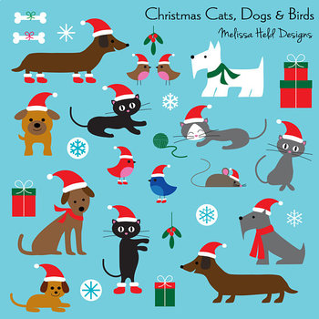Clipart: Christmas Cats and Dogs Clip Art