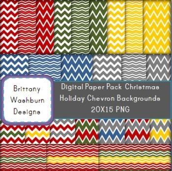 Christmas Chevron Digital Paper Background Pack