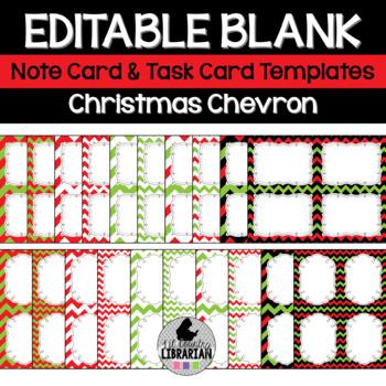 Christmas Chevron Editable Notecards, Notepad, Thank You C