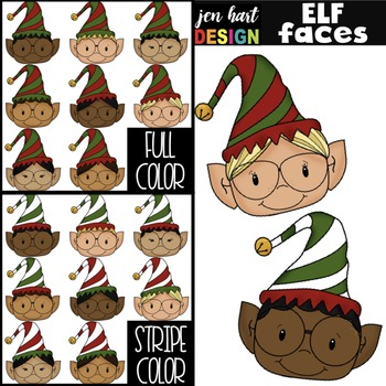 Christmas Clip Art - Elf Faces