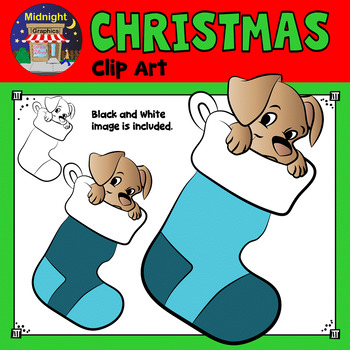 Christmas Clip Art - Puppy in Teal Stockings