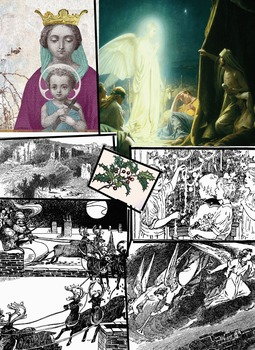 Christmas Clip Art Retro woodcut and Renaissance styles 22 images