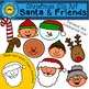 Christmas Clip Art | Santa and Friends | Holding Signs, He