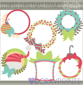 Christmas Clip Art - Striped Circle Frames