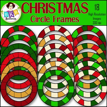 Christmas Clipart ● Circle Frames ● Graphics ● Products fo