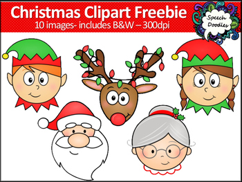 Christmas Clipart Freebie -10 images! Elf, Santa, Mrs Clau