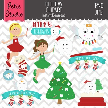 Christmas Clipart // Holiday Tooth Clipart // Tooth Fairy