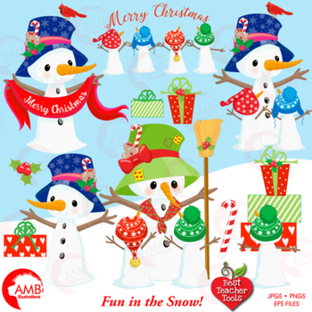 Christmas Clipart, Snowmen Family Cliparts, Candy canes an
