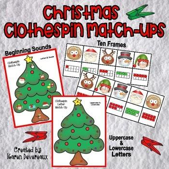 Christmas Clothespin Match-Ups: 10 Frames, Beginning Sound
