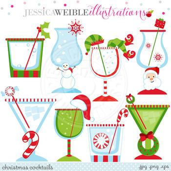 Christmas Cocktails Cute Digital Clipart, Christmas Graphics