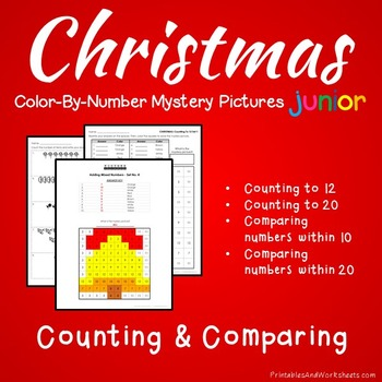 Christmas Color-By-Number: Counting/Comparing to 20 (K-2)