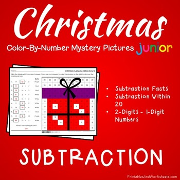 Christmas Color-By-Number: Subtraction (K-2)