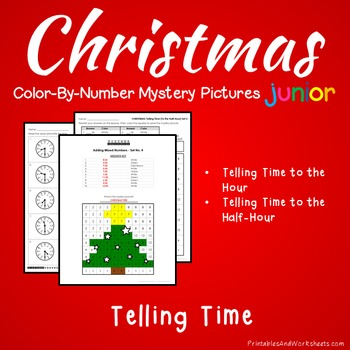 Christmas Color-By-Number: Telling Time the Hour / Telling