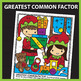 Christmas Color by Number Greatest Common Factor & Least C