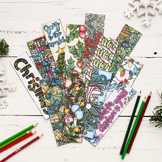 Christmas Coloring Bookmarks - 4x Printable bookmarks on 8