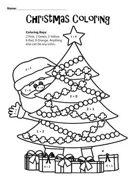 Christmas Coloring Math Coloring Worksheet