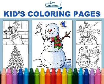 Christmas Coloring Sheets Kids Digital Realistic, JPG, Pri