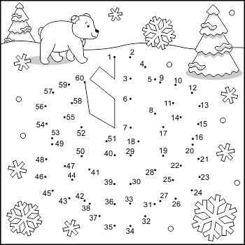 Connect the Dots and Coloring Page with Snowflake, Commerc