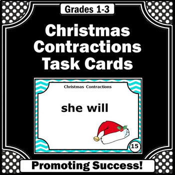 Christmas Literacy Centers Contractions Task Cards