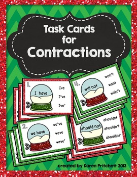 Christmas Contractions Task Cards - 27 multiple choicecard