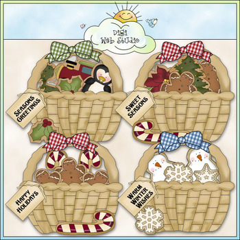 Christmas Cookie Baskets Clip Art - Christmas Clip Art - C