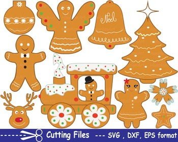 Christmas Cookie EPS SVG DXF santa food clip cutting cut m