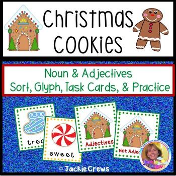 Christmas Cookies: Noun & Adjective Sorting Cards, Glyph,