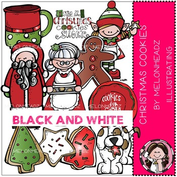 Melonheadz: Christmas Cookies clip art - BLACK AND WHITE