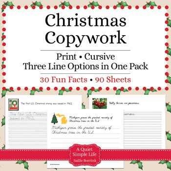 Christmas Copywork - Print and Cursive - Christmas Handwriting