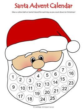Christmas Santa Advent Calendar and Craftivity Freebie