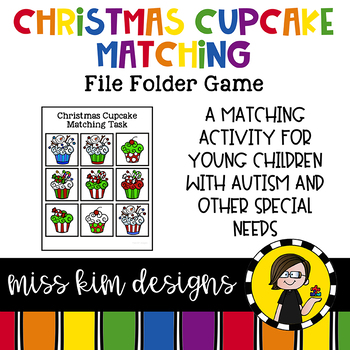 Christmas Cupcake Matching Folder Game for students with Autism