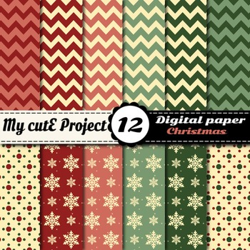 Christmas DIGITAL PAPER - Stripes, polka dots, snowflakes