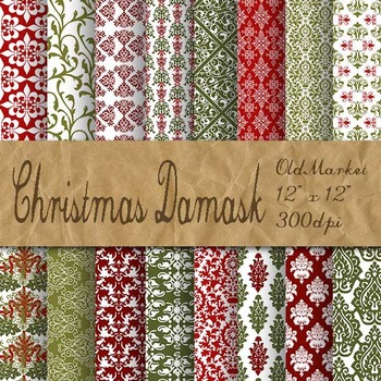 Christmas Damask Digital Paper Pack - 16 Different Papers