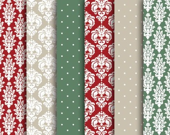 Christmas Damask Papers Set #098