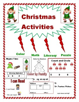 Christmas (December) Math & Literacy Activities and Worksh