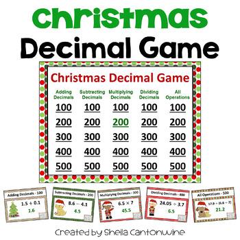 Christmas Decimal Game - Similar to Jeopardy