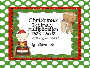Christmas Decimals-Multiplication Task Cards