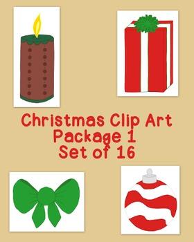 Christmas Decoration Clip Art Bundle 1 PNG JPG Blackline C