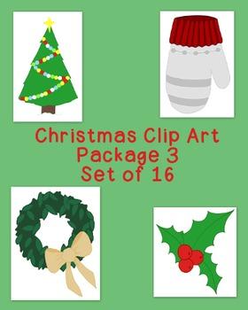 Christmas Decoration Clip Art Bundle 3 PNG JPG Blackline C