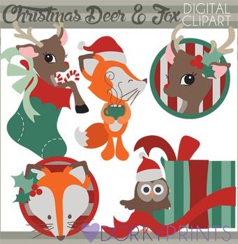 Christmas Deer and Fox Clip Art