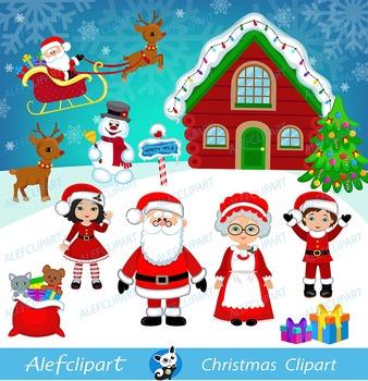 Christmas Digital Clipart, Santa Clipart, Mrs claus , Sant