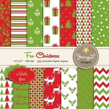 Christmas Digital Paper, Red and Green Christmas Papers, P