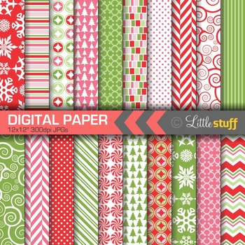 Christmas Digital Paper Value Pack, Winter Backgrounds, Re