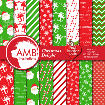Christmas Digital Paper and backgrounds,Sanat Claus and Gi