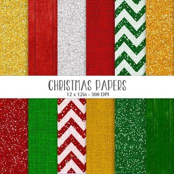 Christmas Digital Papers - Digital Backgrounds