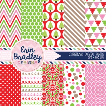 Christmas Digital Papers Pink Red and Green Printable Back